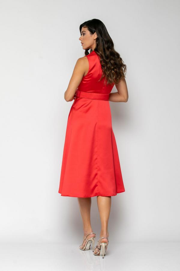 Bellino,  Φόρεμα midi με γιακά και extra ζώνη (ΚΟΚΚΙΝΟ, M)