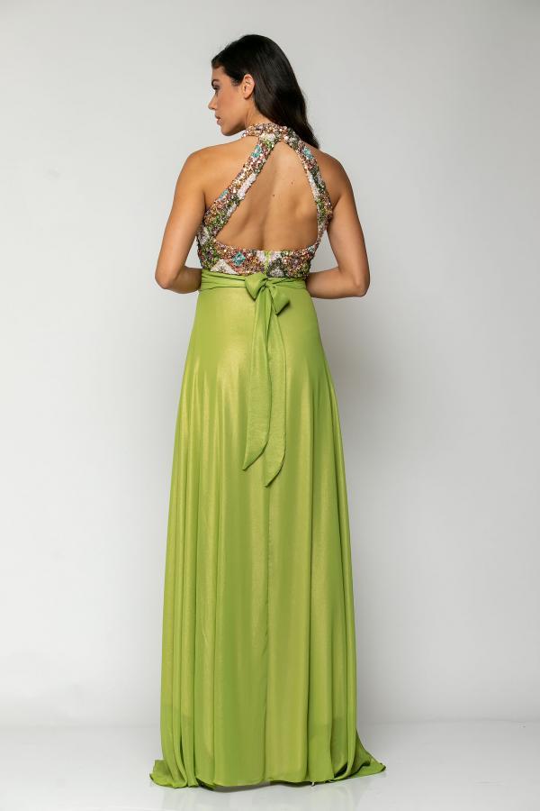 Bellino,  Φόρεμα cocktail maxi με μπούστο από κεντημένη παγιέτα (ΛΑΧΑΝΙ, S)
