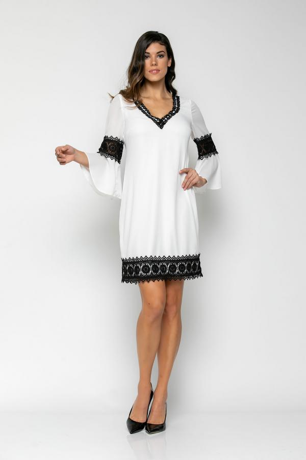 Bellino,  Φόρεμα σάκος με λεπτομέρειες από δαντέλα (ΕΚΡΟΥ, S)