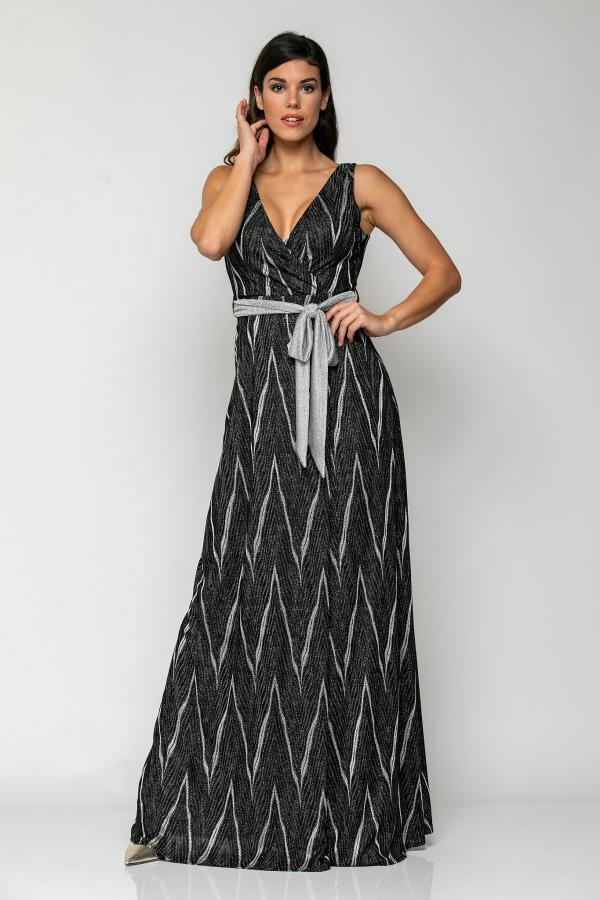 Bellino,  Φόρεμα lurex κρουαζέ με δέσιμο στη μέση (ΜΑΥΡΟ, L)