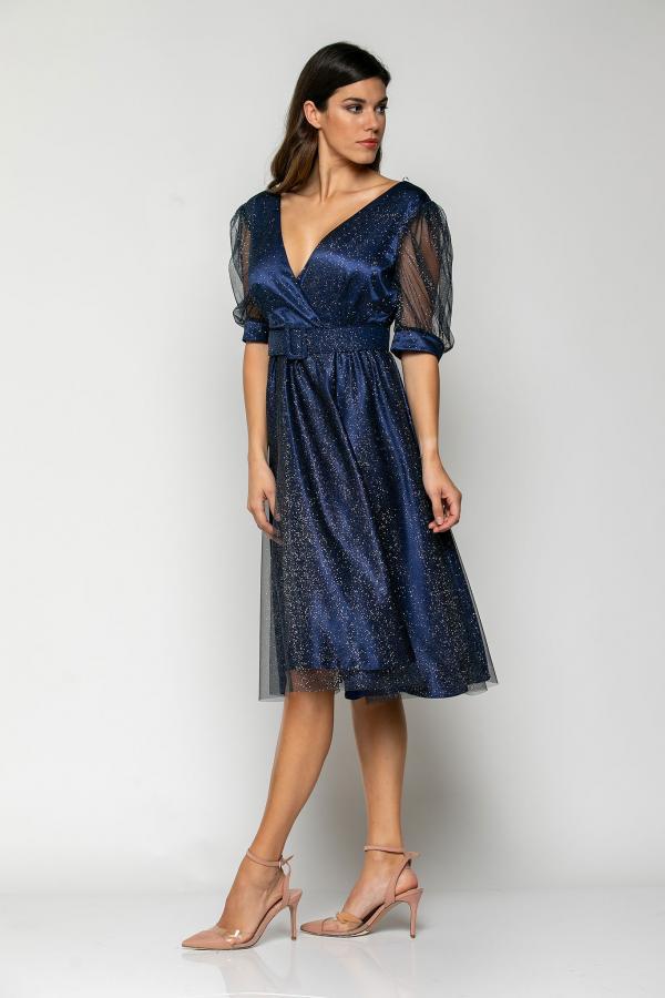 Bellino,  Φόρεμα midi  σε τούλι ιριζέ με ζώνη στη μέση (ΜΠΛΕ, L)