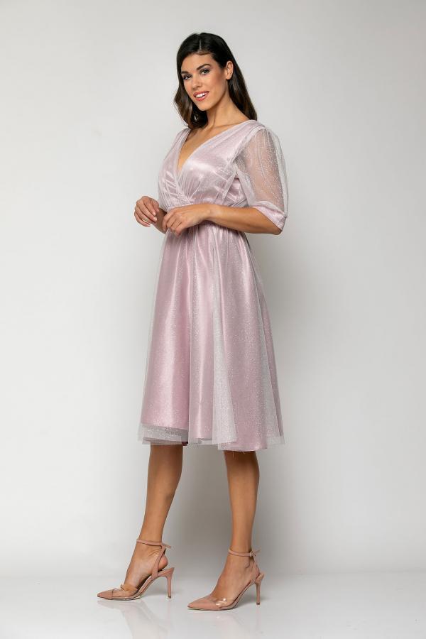 Bellino,  Φόρεμα midi  σε τούλι ιριζέ με ζώνη στη μέση (ΜΩΒ, L)
