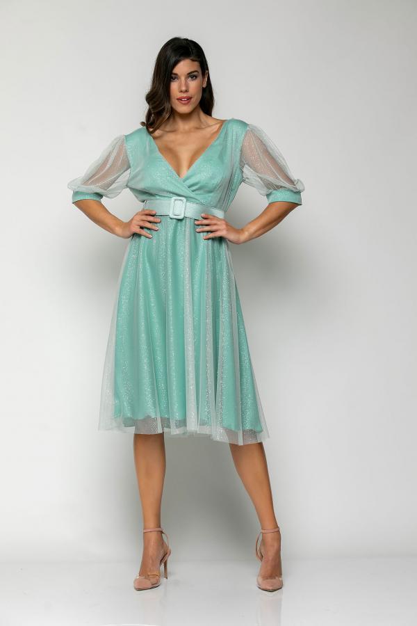 Bellino,  Φόρεμα midi  σε τούλι ιριζέ με ζώνη στη μέση (ΒΕΡΑΜΑΝ, L)