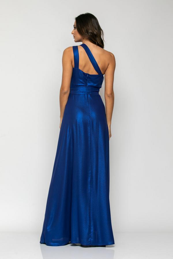 Bellino,  Φόρεμα με έναν ώμο και θηλυκό μπούστο σε σατέν ιριδίζον (ΜΠΛΕ, L)