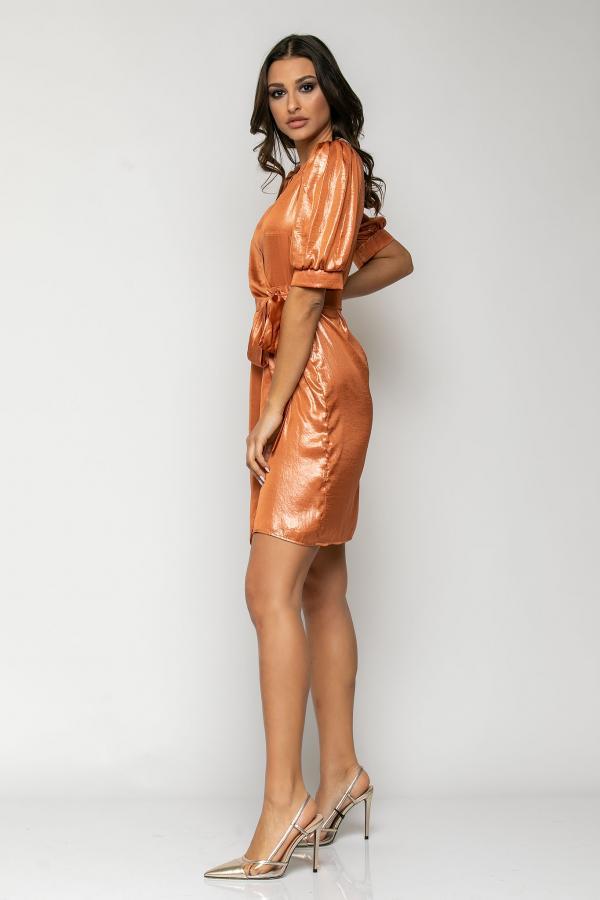 Bellino,  Φόρεμα κρουαζέ σε σατέν foil με σούρα στα μανίκια (ΜΠΡΟΝΖΕ, S)