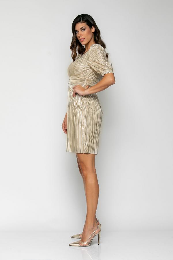Bellino,  Φόρεμα mini σε πλισέ σατέν foil με θηλυκό ντεκολτέ και ανοιχτή πλάτη (ΧΡΥΣΟ, M)