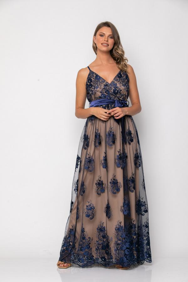 Bellino,  Φόρεμα cocktail σε τούλι κεντημένο με θηλυκό ντεκολτέ (ΜΠΛΕ, L)