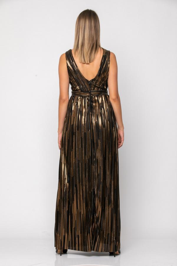 Bellino,  Φόρεμα cocktail κρουαζέ σε πλισέ lurex (ΜΠΡΟΝΖΕ, L)