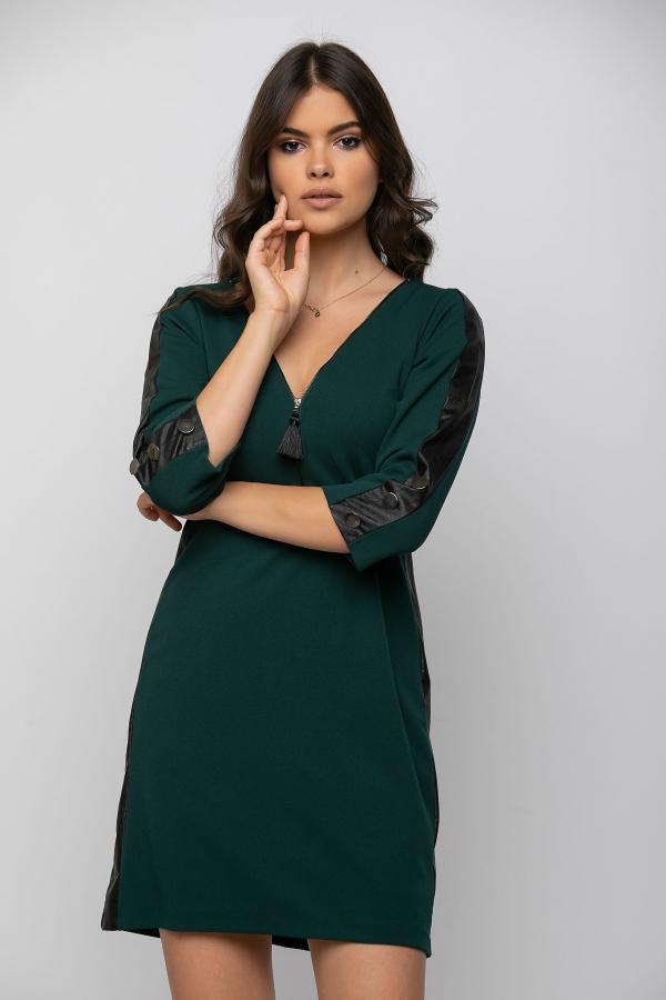 Bellino,  Φόρεμα σε θηλυκή γραμμή με φερμουάρ εμπρός και κουμπιά στο μανίκι (ΠΡΑΣΙΝΟ, M)