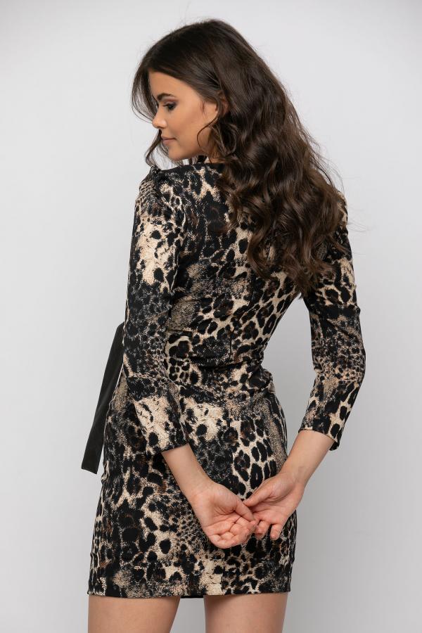 Bellino,  Φόρεμα mini κρουαζέ δερματίνη σε στενή γραμμή (ΜΑΥΡΟ, S)