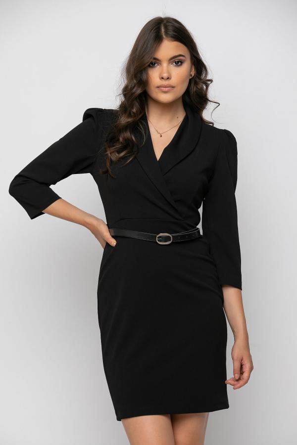 Bellino,  Φόρεμα κρουαζέ με πέτο γιακά σε στενή θηλυκή γραμμή (ΜΑΥΡΟ, XXL)