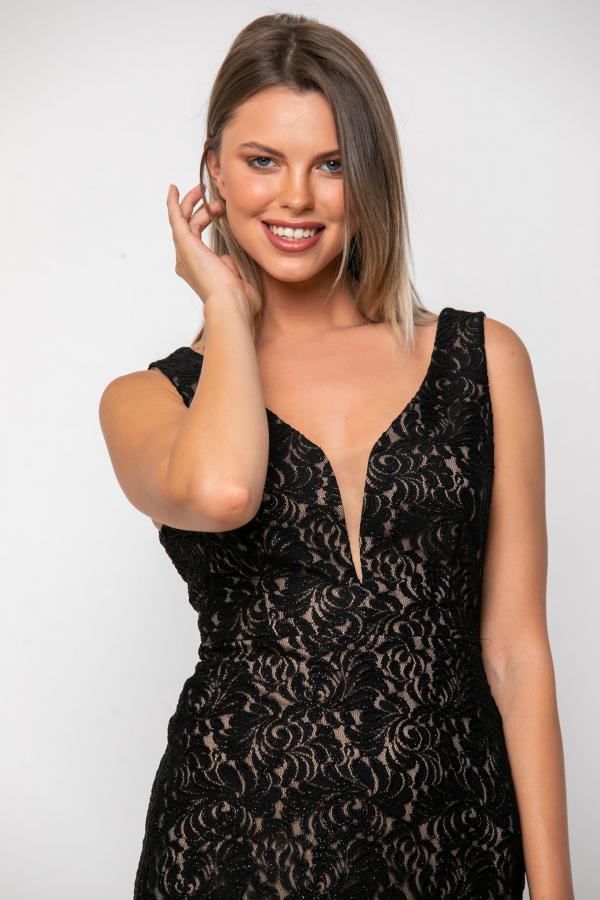 Bellino,  Φόρεμα σε δαντέλα ελαστική lurex (ΜΑΥΡΟ, L)