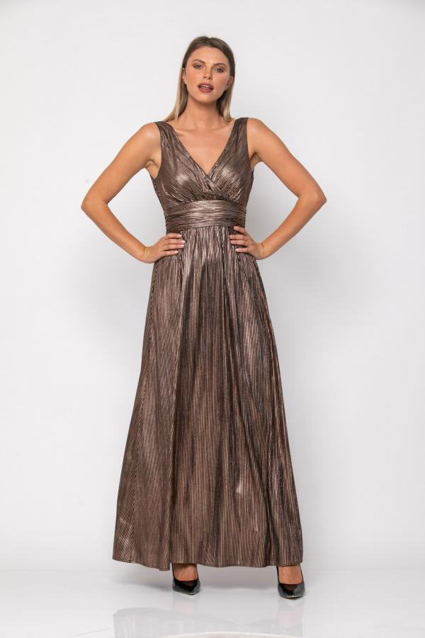 Bellino,  Φόρεμα κρουαζέ σε ρίγα foil με ανοιχτή πλάτη (ΜΠΡΟΝΖΕ, XXXL)
