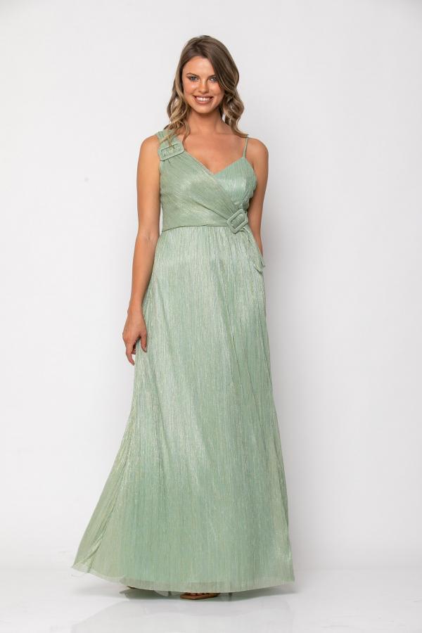 Bellino,  Φόρεμα αμπιγιέ μακρύ με άνοιγμα στο πόδι (ΧΡΥΣΟ, L)