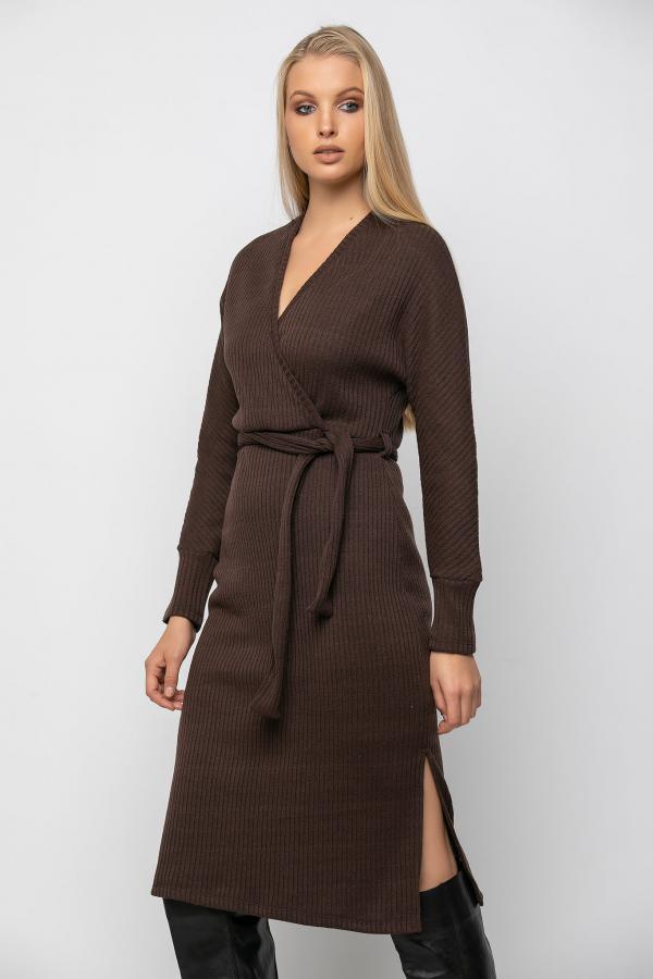 Bellino,  Φόρεμα midi κρουαζέ με άνοιγμα στο πλάι και ζώνη (ΚΑΦΕ, L)