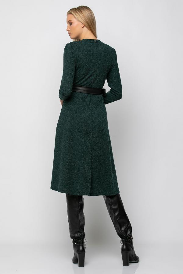 Bellino,  Φόρεμα midi κρουαζέ πλεκτό με βάτα και ζώνη στη μέση (ΠΡΑΣΙΝΟ, L)