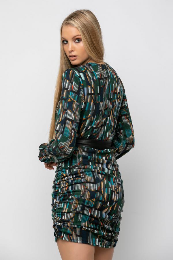 Bellino,  Φόρεμα mini κρουαζέ με σούρες και ζώνη στη μέση (ΠΡΑΣΙΝΟ, M)