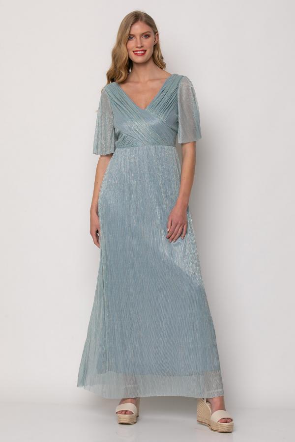 Bellino,  Φόρεμα cocktail κρουαζέ με φαρδύ μανίκι (ΣΙΕΛ, L)