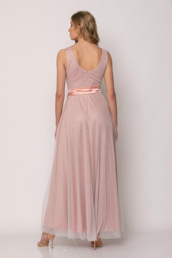 Bellino,  Φόρεμα cocktail σε lurex τούλι με ζώνη στη μέση (ΣΑΠΙΟ ΜΗΛΟ, M)