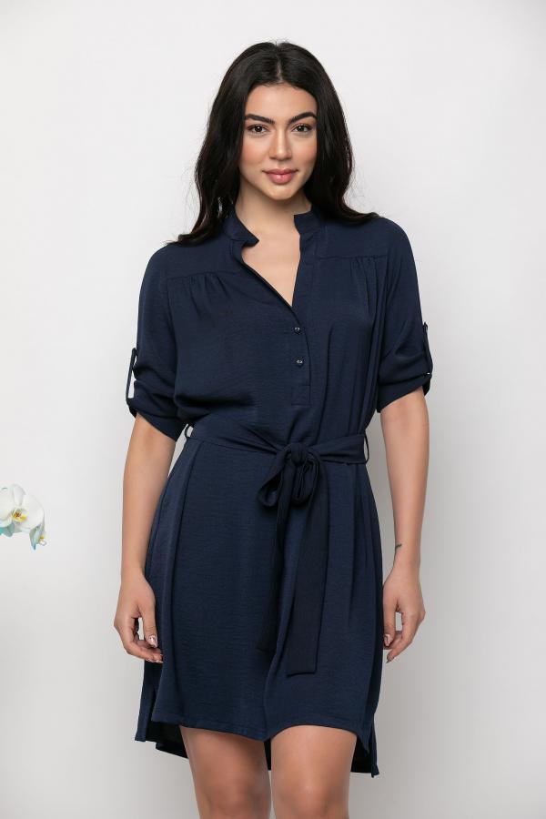 Bellino,  Φόρεμα mini ασύμμετρο με ζώνη στη μέση (ΜΠΛΕ, L)