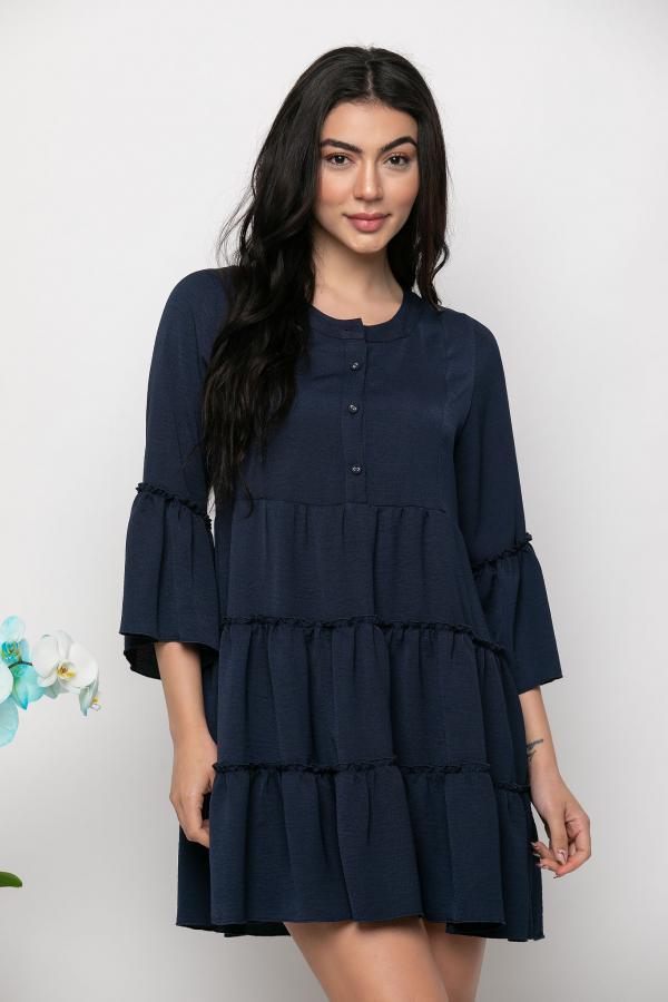 Bellino,  Φόρεμα mini με βολάν ίσια γραμμή (ΜΠΛΕ, L)