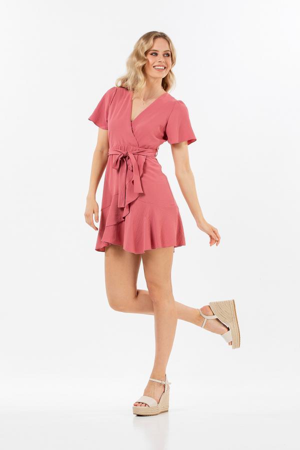 Bellino,  Φόρεμα mini κρουαζέ με βολάν και ζώνη στη μέση (ΣΟΜΟΝ, S)