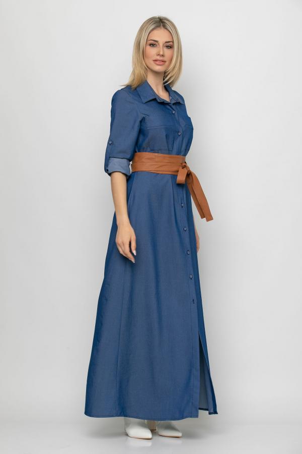 Bellino,  Φόρεμα jean σεμιζέ με ζώνη στη μέση (ΜΠΛΕ, L)
