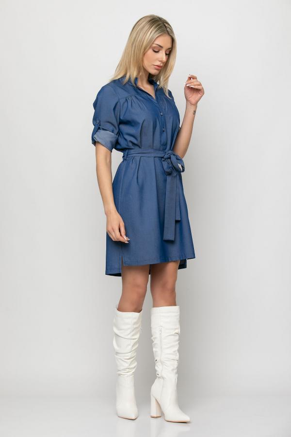 Bellino,  Φόρεμα jean mini με ζώνη στη μέση (ΜΠΛΕ, L)