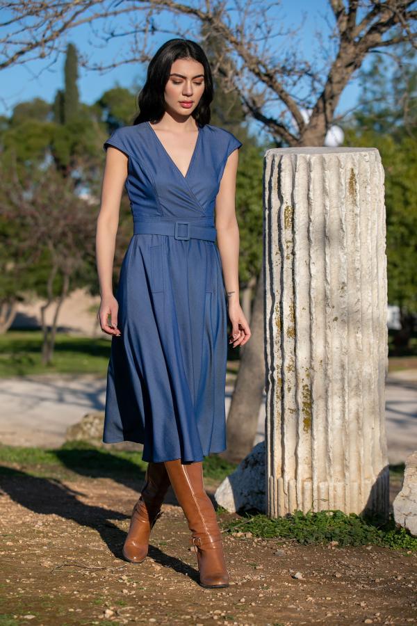 Bellino,  Φόρεμα jean midi με τσέπες εμπρός και ζώνη στη μέση (ΜΠΛΕ, L)