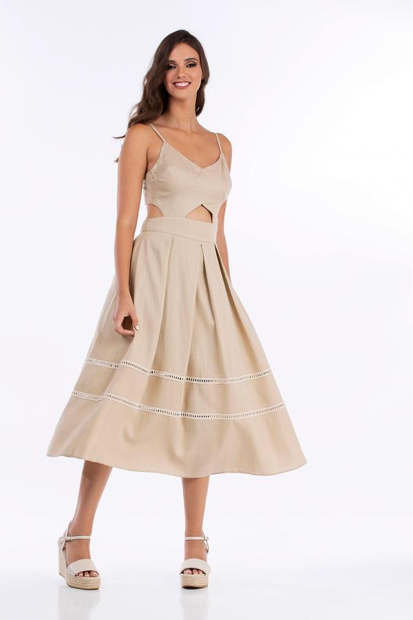 Bellino,  Φόρεμα λινό midi (ΜΠΕΖ, L)