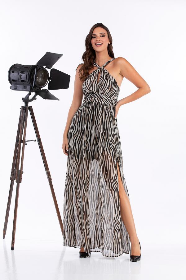 Bellino,  Φόρεμα μακρύ animal (ΜΑΥΡΟ, M)