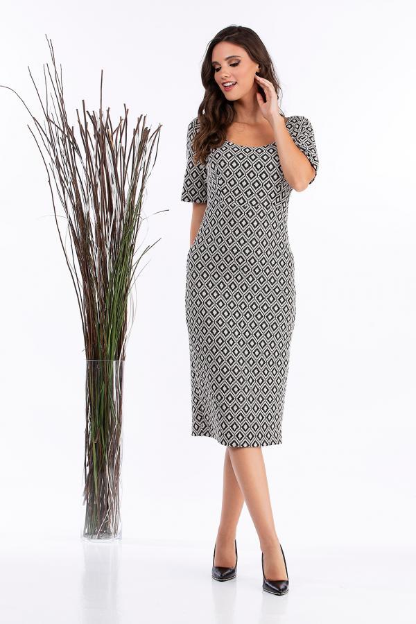 Bellino,  Φόρεμα pencil μπροκάρ (ΜΠΕΖ, L)