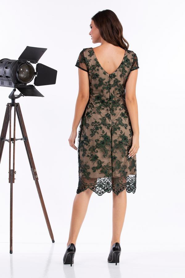 Bellino,  Φόρεμα midi σε τούλι κεντημένο (ΠΡΑΣΙΝΟ, L)