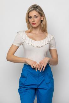 Bellino,  Μπλούζα με θηλυκό ντεκολτέ που αγκαλιάζει το σώμα (ΕΚΡΟΥ, L)