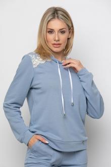 Bellino,  Μπλούζα φούτερ με κουκούλα διπλή και κεντημένο ωμίτη (ΣΙΕΛ, M)