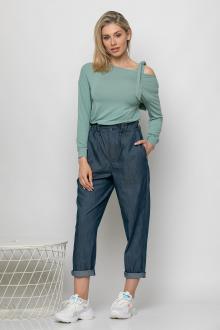 Bellino,  Παντελόνι baggy με λάστιχο στη μέση και τσέπες (ΜΠΛΕ, L)