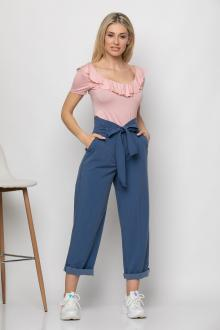 Bellino,  Παντελόνι jean με ζώνη στη μέση και τσέπες εμπρός (ΙΝΤΙΓΚΟ, L)