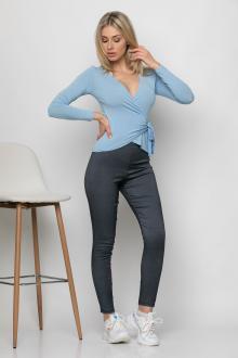 Bellino,  Παντελόνι κολάν jean με μπάσκα και λάστιχο στη μέση (ΜΠΛΕ, L)