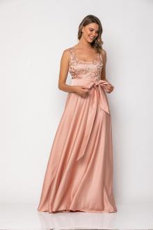 Bellino,  Φόρεμα αμπιγιέ με μπούστο από τούλι κεντημένο (ΣΑΠΙΟ ΜΗΛΟ, M)