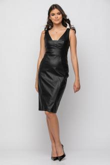 Bellino,  Φόρεμα midi σε δερματίνη φίδι σε στενή θηλυκή γραμμή (ΜΑΥΡΟ, L)
