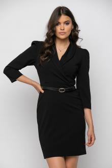 Bellino,  Φόρεμα κρουαζέ με πέτο γιακά σε στενή θηλυκή γραμμή (ΜΑΥΡΟ, L)