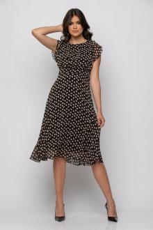 Bellino,  Φόρεμα midi εμπριμέ σε μουσελίνα αέρινη (ΜΑΥΡΟ, L)
