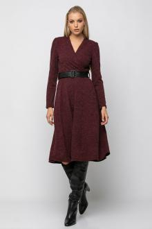 Bellino,  Φόρεμα midi κρουαζέ πλεκτό με βάτα και ζώνη στη μέση (ΜΠΟΡΝΤΟ, L)