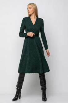 Bellino,  Φόρεμα midi κρουαζέ πλεκτό με βάτα και ζώνη στη μέση (ΠΡΑΣΙΝΟ, XL)