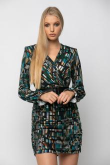 Bellino,  Φόρεμα mini κρουαζέ με σούρες και ζώνη στη μέση (ΠΡΑΣΙΝΟ, L)