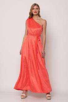 Bellino,  Φόρεμα maxi με βάτα στον ώμο και ζώνη στη μέση (ΚΟΡΑΛΙ, L)