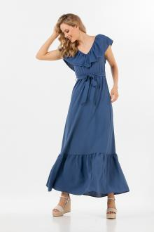 Bellino,  Φόρεμα maxi με βολάν και ζώνη στη μέση (ΙΝΤΙΓΚΟ, M)