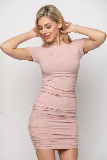 Bellino,  Φόρεμα mini σε ριπ διάταξη με σούρες (ΡΟΖ, L)