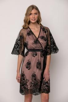 Bellino,  Φόρεμα mini κρουαζέ σε τούλι κεντημένο (ΜΑΥΡΟ, M)