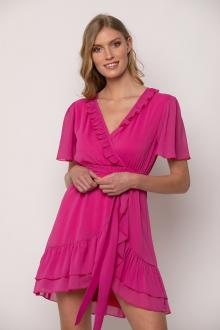 Bellino,  Φόρεμα mini κρουαζέ σε ριγωτό ύφασμα (ΦΟΥΞΙΑ, L)